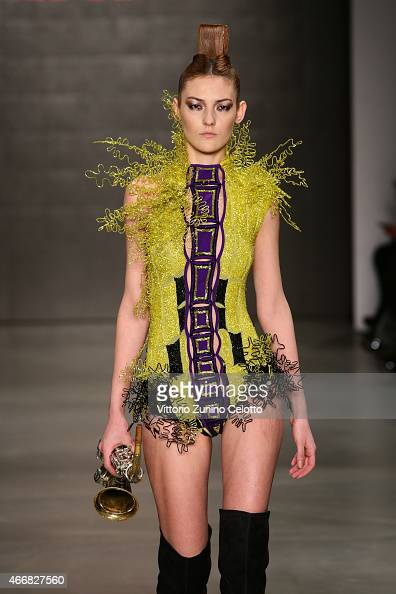 A model walks the runway at the Red Beard show during Mercedes Benz Fashion Week Istanbul FW15 on March 19 2015 in Istanbul Turkey