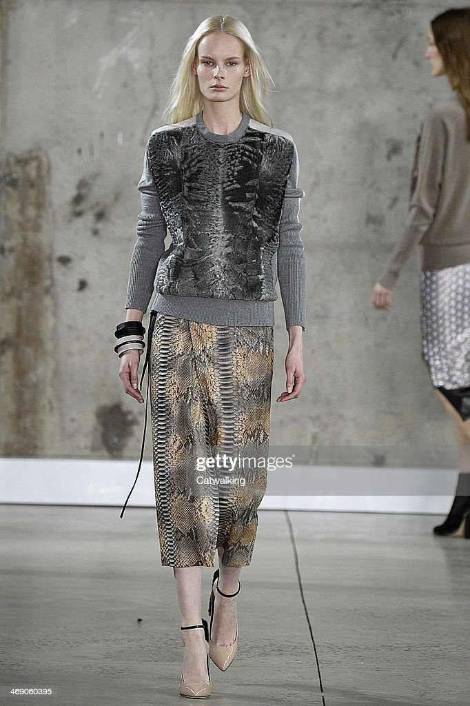 A model walks the runway at the Reed Krakoff Autumn Winter 2014 fashion show during New York Fashion Week on February 12, 2014 in New York, United States.