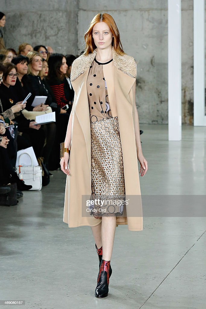 A model walks the runway at the Reed Krakoff fashion show during Mercedes-Benz Fashion Week Fall 2014 on February 12, 2014 in New York City.