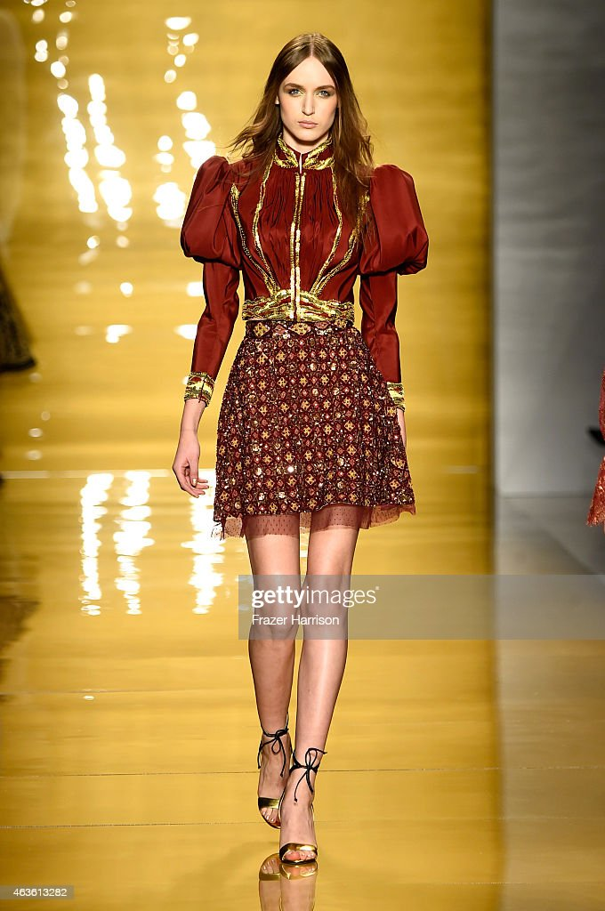 A model walks the runway at the Reem Acra fashion show during MercedesBenz Fashion Week Fall 2015 at The Salon at Lincoln Center on February 16 2015...