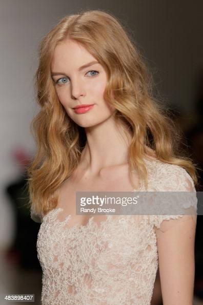 A model walks the runway at the Reem Acra Spring 2015 Bridal collection show on April 10 2014 in New York City