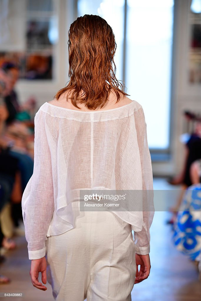A model walks the runway at the Rene Storck show during the Mercedes-Benz Fashion Week Berlin Spring/Summer 2017 at Kronprinzenpalais on June 28, 2016 in Berlin, Germany.