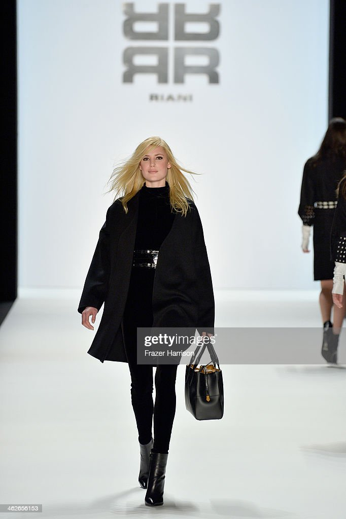 A model walks the runway at the Riani show during Mercedes-Benz Fashion Week Autumn/Winter 2014/15 at Brandenburg Gate on January 14, 2014 in Berlin, Germany.