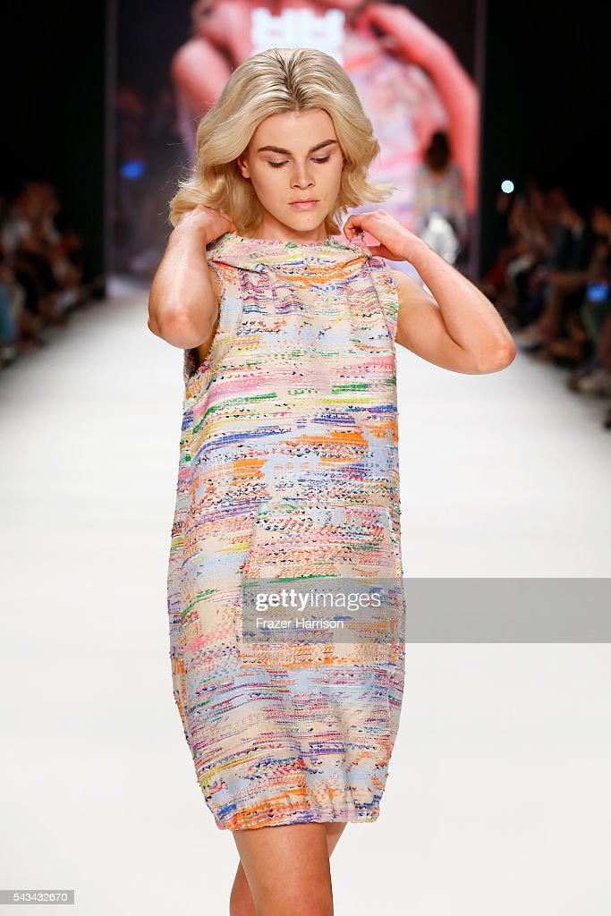 A model walks the runway at the Riani show during the Mercedes-Benz Fashion Week Berlin Spring/Summer 2017 at Erika Hess Eisstadion on June 28, 2016 in Berlin, Germany.
