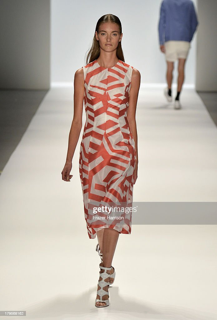 A model walks the runway at the Richard Chai Spring 2014 fashion show during Mercedes-Benz Fashion Week at The Stage at Lincoln Center on September 5, 2013 in New York City.