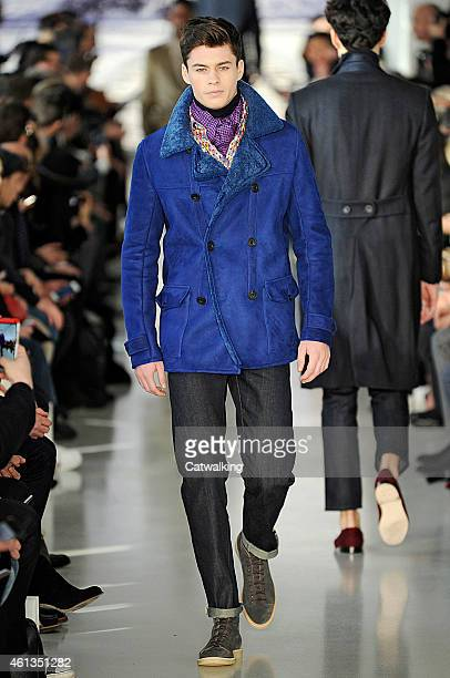 A model walks the runway at the Richard James Autumn Winter 2015 fashion show during London Menswear Fashion Week on January 11 2015 in London United...