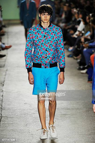A model walks the runway at the Richard James Spring Summer 2016 fashion show during London Menswear Fashion Week on June 14 2015 in London United...