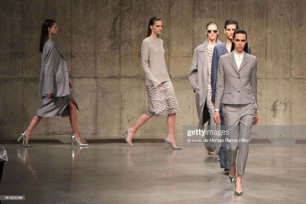 A model walks the runway at the Richard Nicoll show during London Fashion Week Fall/Winter 2013/14 at on February 17, 2013 in London, England.