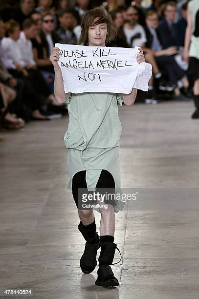 A model walks the runway at the Rick Owens Spring Summer 2016 fashion show during Paris Menswear Fashion Week on June 25 2015 in Paris France