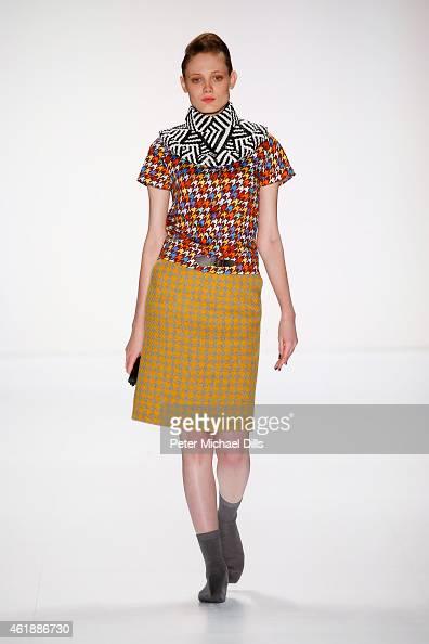 A model walks the runway at the Rike Feurstein show during the MercedesBenz Fashion Week Berlin Autumn/Winter 2015/16 at Brandenburg Gate on January...