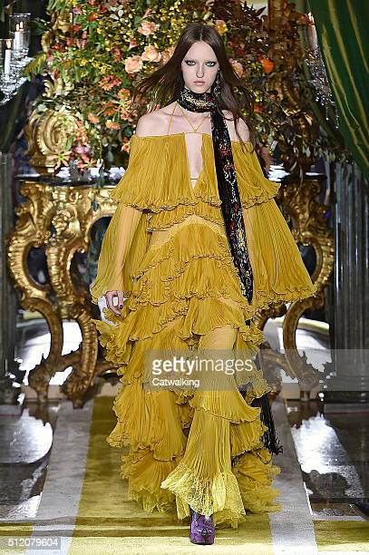 A model walks the runway at the Roberto Cavalli Autumn Winter 2016 fashion show during Milan Fashion Week on February 24 2016 in Milan Italy