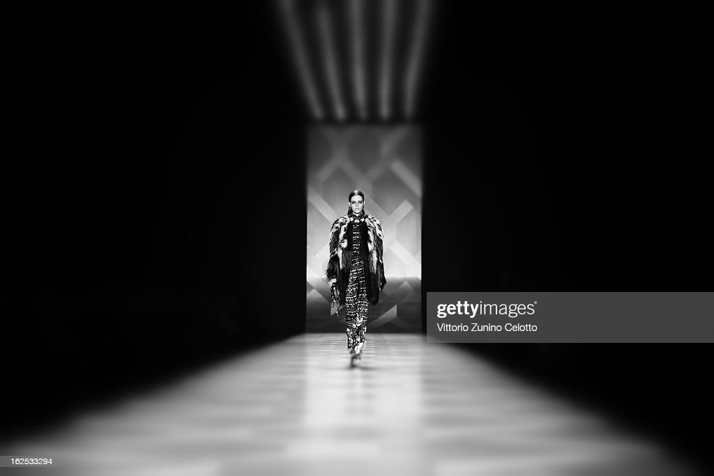 A model walks the runway at the Roberto Cavalli fashion show as part of Milan Fashion Week Womenswear Fall/Winter 2013/14 on February 23, 2013 in Milan, Italy.