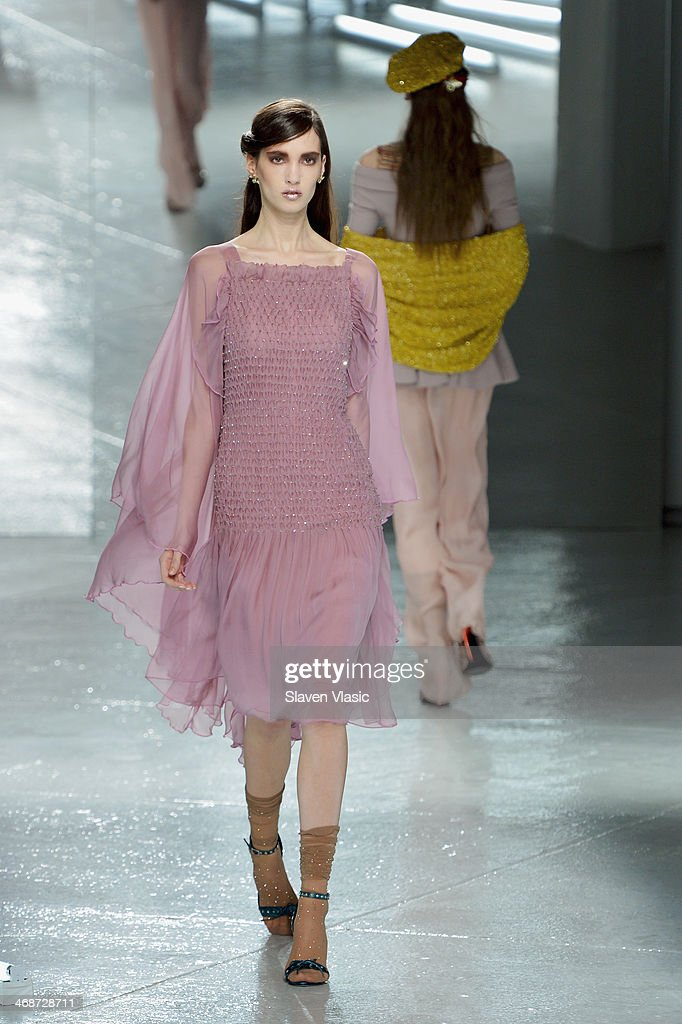 A model walks the runway at the Rodarte fashion show during Mercedes-Benz Fashion Week Fall 2014 at Center 548 on February 11, 2014 in New York City.