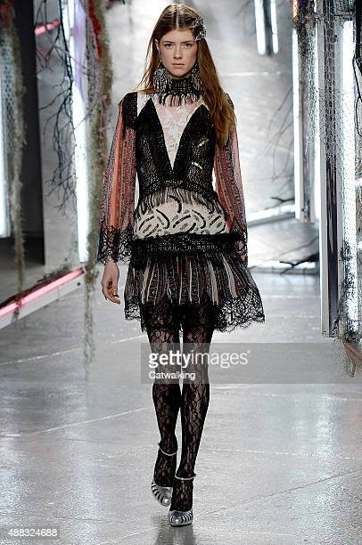 A model walks the runway at the Rodarte Spring Summer 2016 fashion show during New York Fashion Week on September 15 2015 in New York United States