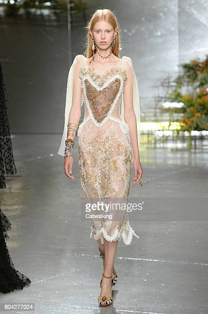 A model walks the runway at the Rodarte Spring Summer 2017 fashion show during New York Fashion Week on September 13 2016 in New York United States