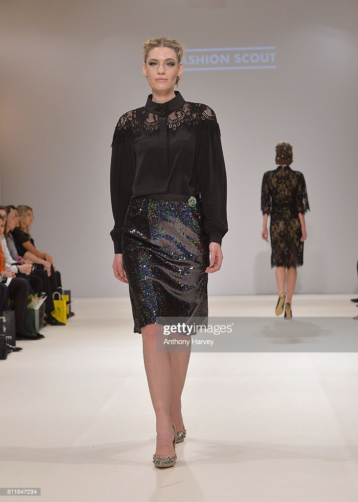 A model walks the runway at the Rohmir show at Fashion Scout during London Fashion Week Autumn/Winter 2016/17 at Freemasons' Hall on February 21 2016...