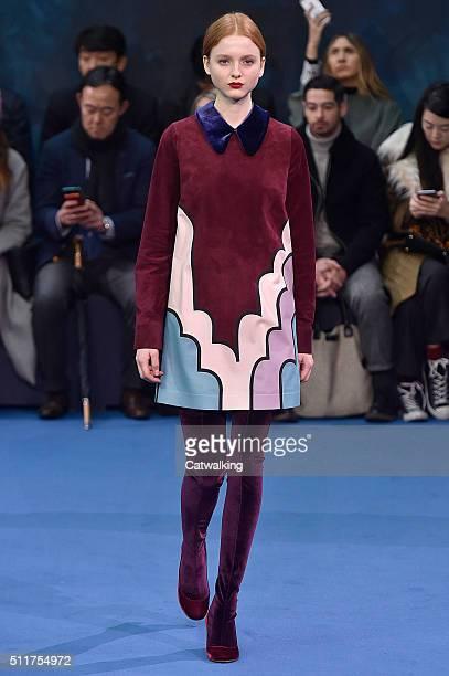 A model walks the runway at the Roksanda Autumn Winter 2016 fashion show during London Fashion Week on February 22 2016 in London United Kingdom