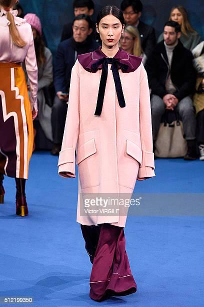 A model walks the runway at the Roksanda fashion show during London Fashion Week Autumn/Winter 2016/2017 on February 22 2016 in London England