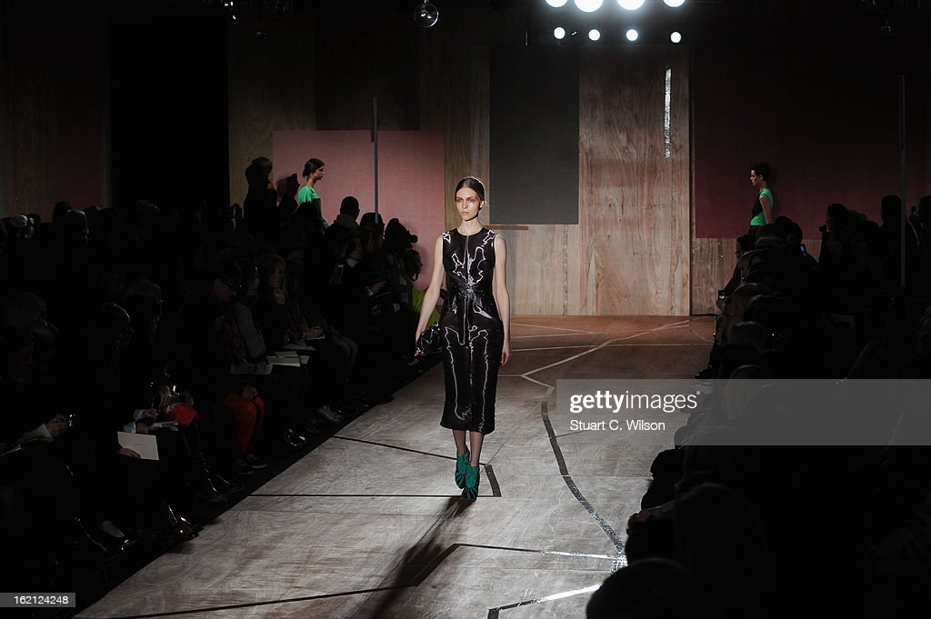 A model walks the runway at the Roksanda Ilincic show during London Fashion Week Fall/Winter 2013/14 at The Savoy on February 19, 2013 in London, England.