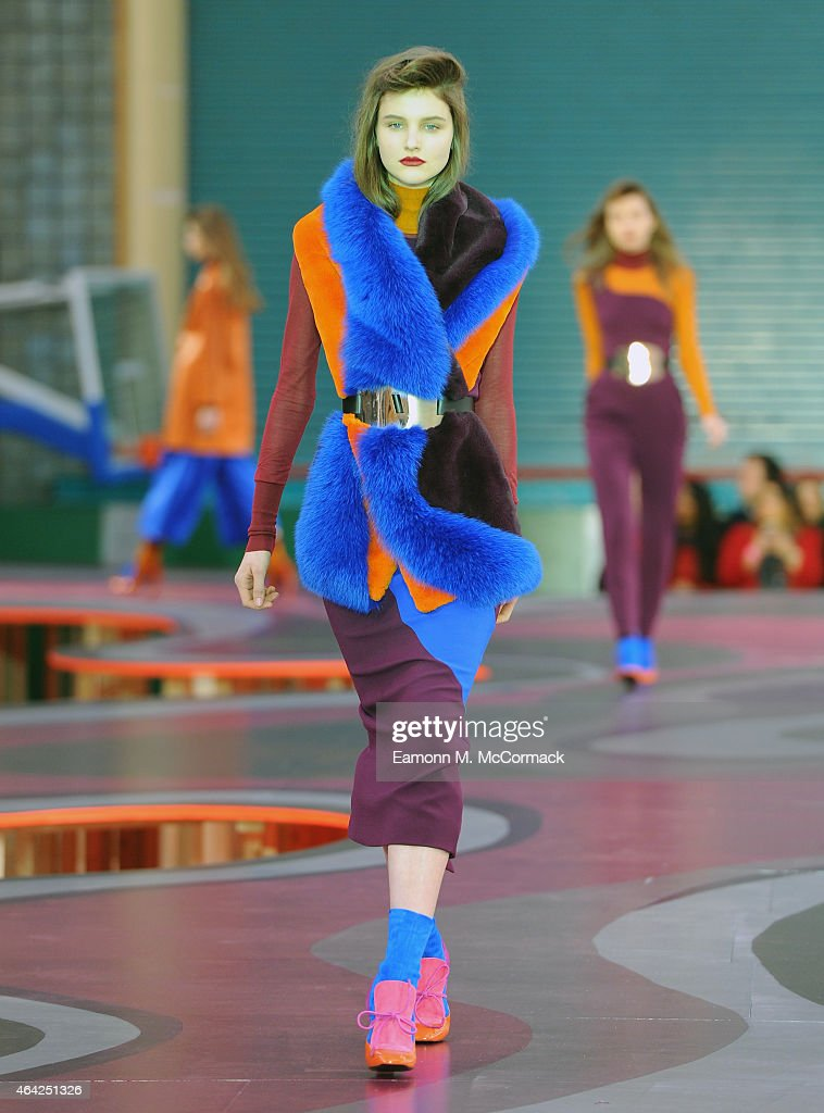 A model walks the runway at the Roksanda show during London Fashion Week Fall/Winter 2015/16 at Seymour Hall on February 23 2015 in London England