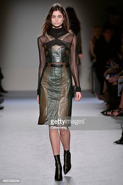 A model walks the runway at the Roland Mouret Autumn Winter 2015 fashion show during Paris Fashion Week on March 5 2015 in Paris France