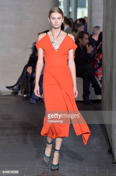 A model walks the runway at the Roland Mouret Spring Summer 2018 fashion show during London Fashion Week on September 17 2017 in London United Kingdom