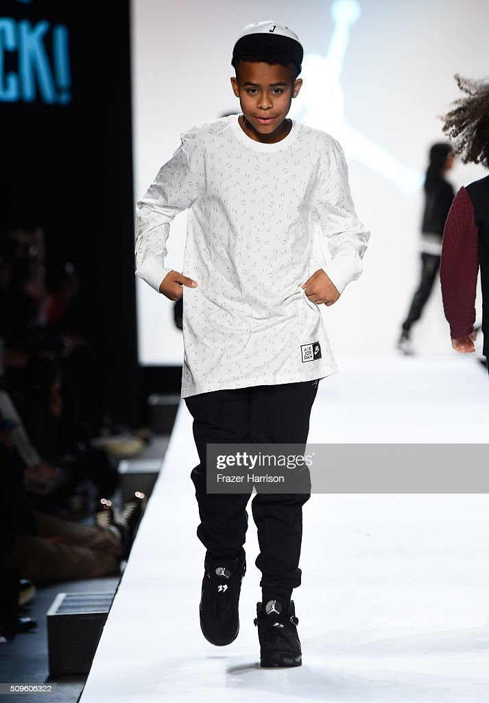 A model walks the runway at the Rookie USA Presents Kids Rock! Fall 2016 fashion show during New York Fashion Week: The Shows at The Dock, Skylight at Moynihan Station on February 11, 2016 in New York City.