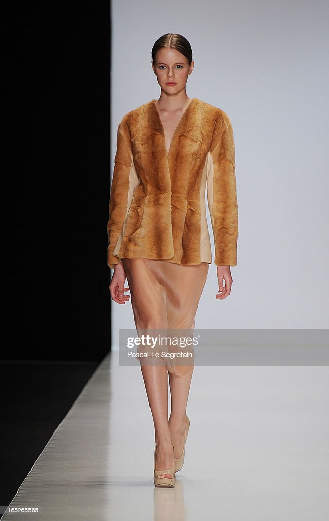 A model walks the runway at the Ruban show during Mercedes-Benz Fashion Week Russia Fall/Winter 2013/2014 at Manege on April 2, 2013 in Moscow, Russia.