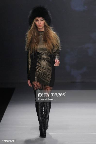 A model walks the runway at the Rudsak 20th Anniversary fashion show during World Mastercard fashion week on March 20 2014 in Toronto Canada