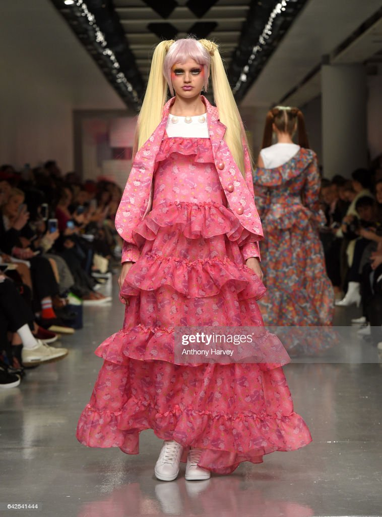 A model walks the runway at the Ryan LO show during the London Fashion Week February 2017 collections on February 18, 2017 in London, England.