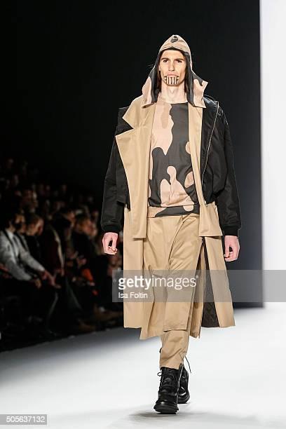 A model walks the runway at the Sadak Show MercedesBenz Fashion Week Berlin Autumn/Winter 2016 on January 19 2016 in Berlin Germany