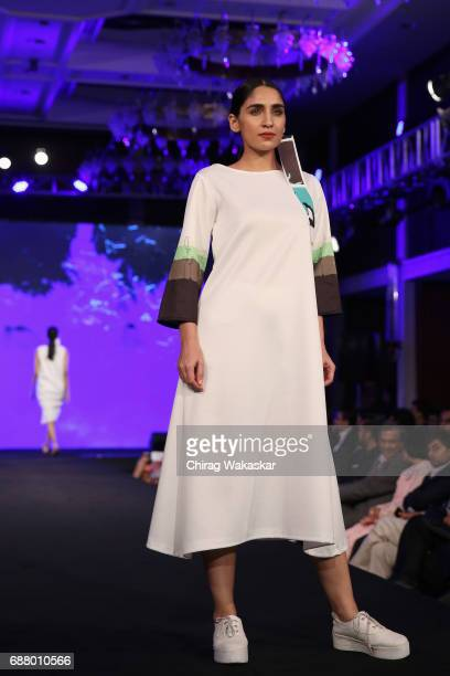 A model walks the runway at the Saikat Mondal show during Shoppers Stop Designer of tghe Year awards 2017 held at Four Seaons on May 24 2017 in...