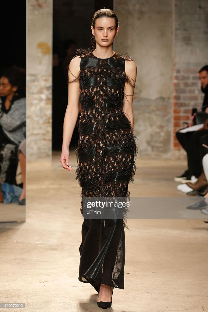 A model walks the runway at the Sally LaPointe fashion show during Fall 2016 New York Fashion Week at the Dia Art Foundation on February 14, 2016 in New York City.