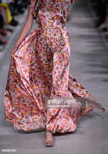A model walks the runway at the Salonshow at Greenshowroom during the MercedesBenz Fashion Week Berlin Spring/Summer 2018 at Funkhaus Berlin on July...