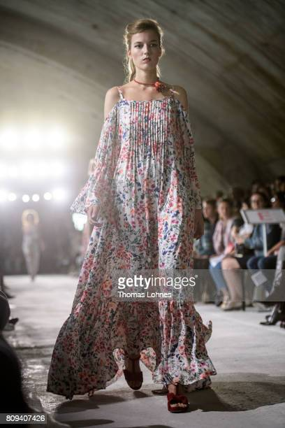 A model walks the runway at the Salonshow Greenshowroom during the MercedesBenz Fashion Week Berlin Spring/Summer 2018 at Funkhaus Berlin on July 5...