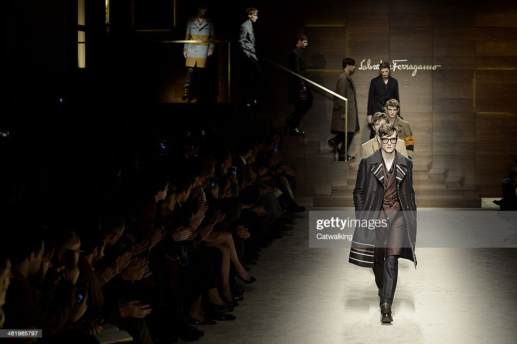A model walks the runway at the Salvatore Ferragamo Autumn Winter 2014 fashion show during Milan Menswear Fashion Week on January 12, 2014 in Milan, Italy.