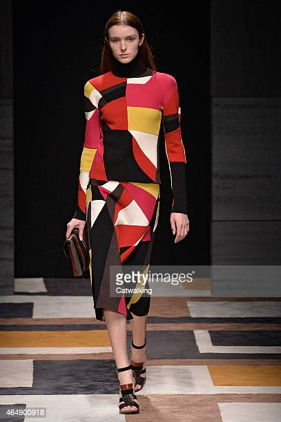 A model walks the runway at the Salvatore Ferragamo Autumn Winter 2015 fashion show during Milan Fashion Week on March 1 2015 in Milan Italy