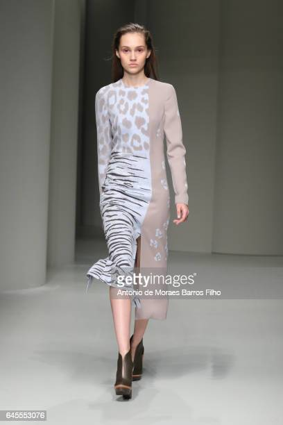 A model walks the runway at the Salvatore Ferragamo show during Milan Fashion Week Fall/Winter 2017/18 on February 26 2017 in Milan Italy