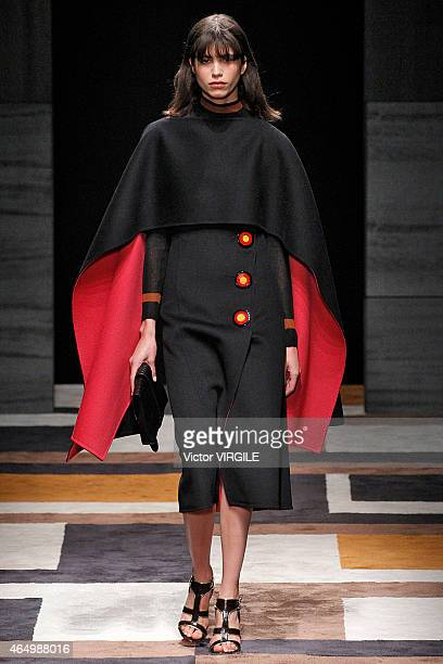 A model walks the runway at the Salvatore Ferragamo show during the Milan Fashion Week Autumn/Winter 2015 on March 1 2015 in Milan Italy
