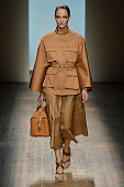 A model walks the runway at the Salvatore Ferragamo Spring Summer 2015 fashion show during Milan Fashion Week on September 21 2014 in Milan Italy