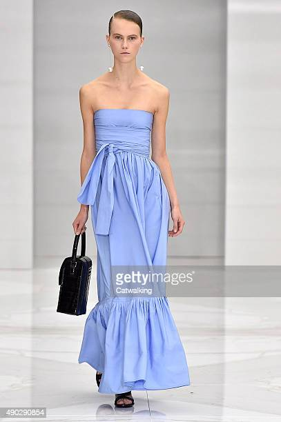 A model walks the runway at the Salvatore Ferragamo Spring Summer 2016 fashion show during Milan Fashion Week on September 27 2015 in Milan Italy