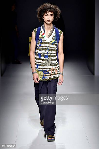 A model walks the runway at the Salvatore Ferragamo Spring Summer 2017 fashion show during Milan Menswear Fashion Week on June 19 2016 in Milan Italy