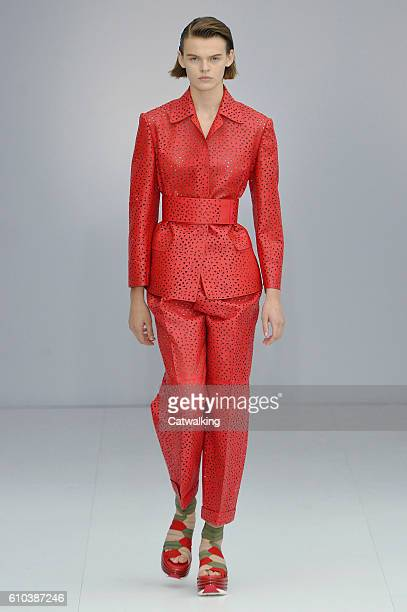 A model walks the runway at the Salvatore Ferragamo Spring Summer 2017 fashion show during Milan Fashion Week on September 25 2016 in Milan Italy