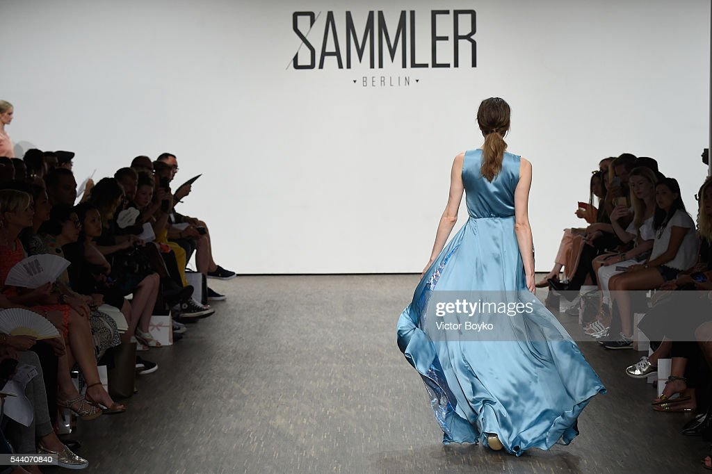 A model walks the runway at the Sammler Berlin show during the Mercedes-Benz Fashion Week Berlin Spring/Summer 2017 at Stage at me Collectors Room on July 1, 2016 in Berlin, Germany.