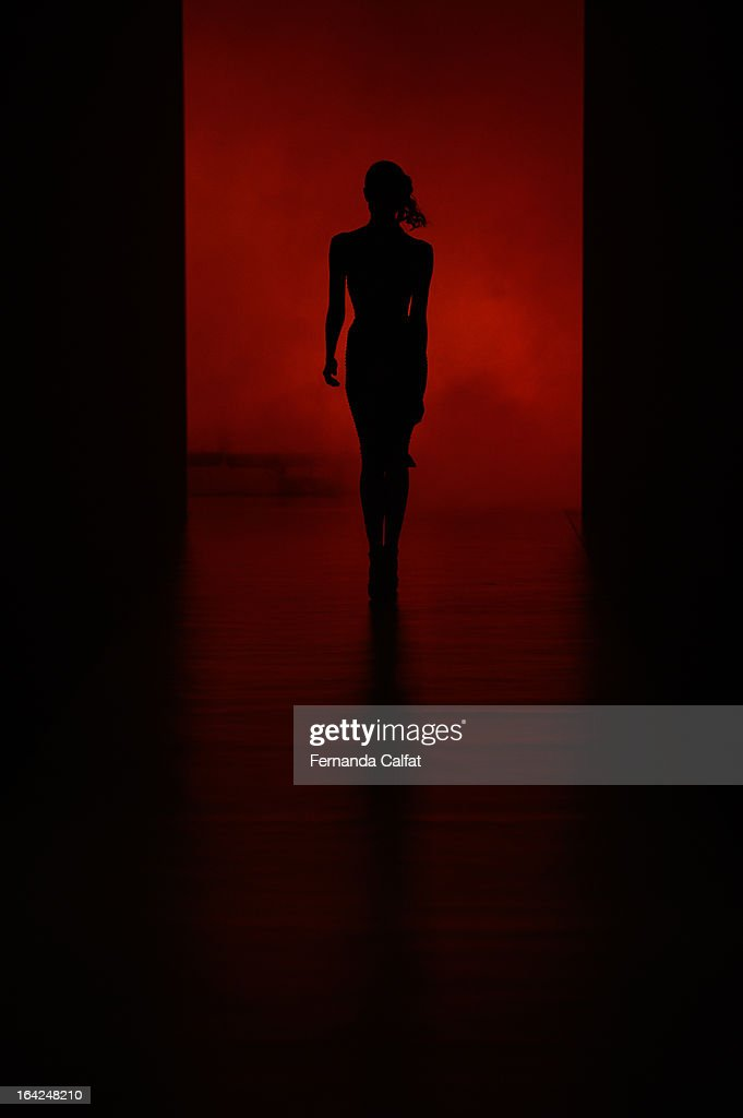 A model walks the runway at the Samuel Cirnansck show during Sao Paulo Fashion Week Summer 2013/2014 on March 21, 2013 in Sao Paulo, Brazil.