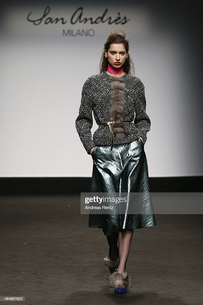 A model walks the runway at the San Andres Milano show during the Milan Fashion Week Autumn/Winter 2015 on March 2 2015 in Milan Italy