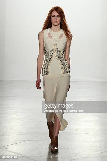 A model walks the runway at the sass bide show during London Fashion Week Fall/Winter 2015/16 at Australia House on February 20 2015 in London England
