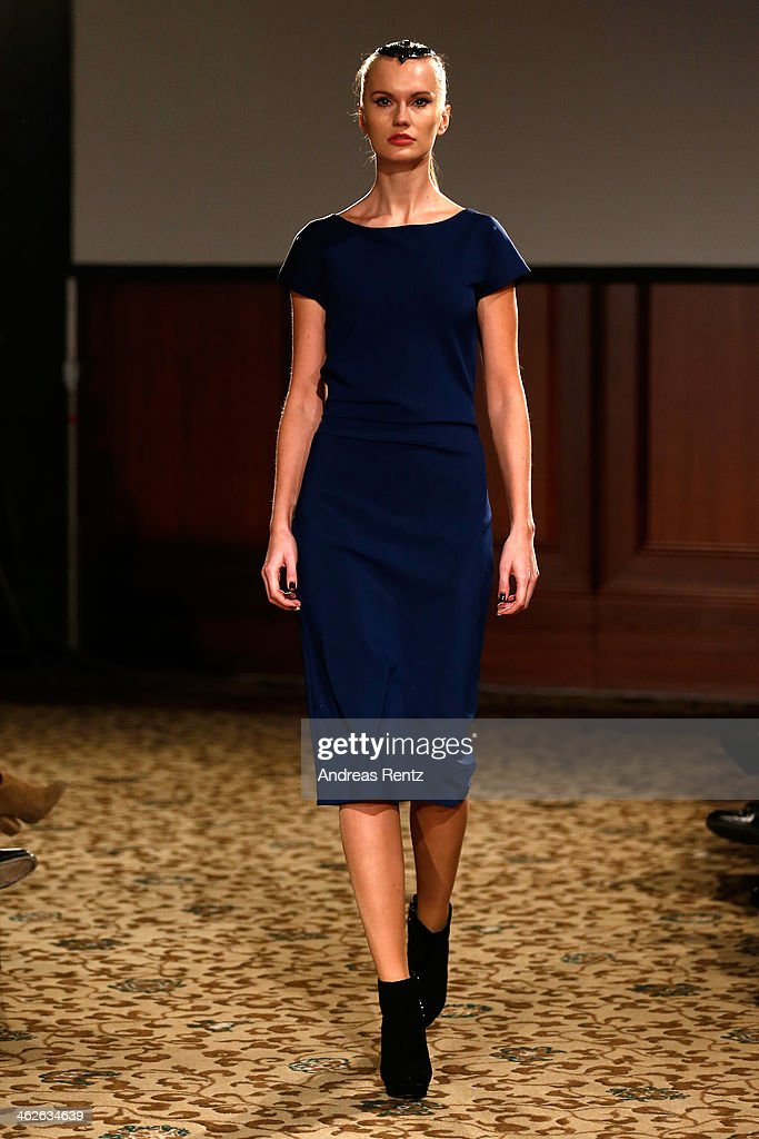 A model walks the runway at the Sava Nald show during the Mercedes-Benz Fashion Week Autumn/Winter 2014/15 at Hotel Adlon on January 14, 2014 in Berlin, Germany.