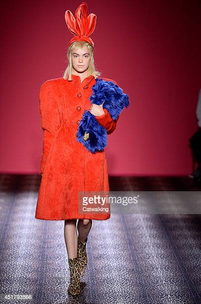 A model walks the runway at the Schiaparelli Autumn Winter 2014 fashion show during Paris Haute Couture Fashion Week on July 7 2014 in Paris France
