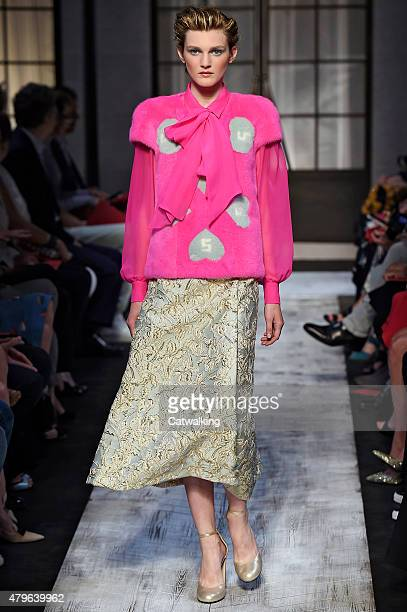 A model walks the runway at the Schiaparelli Autumn Winter 2015 fashion show during Paris Haute Couture Fashion Week on July 6 2015 in Paris France